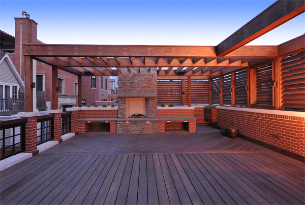 ipe deck fireplace project chicago 1 image